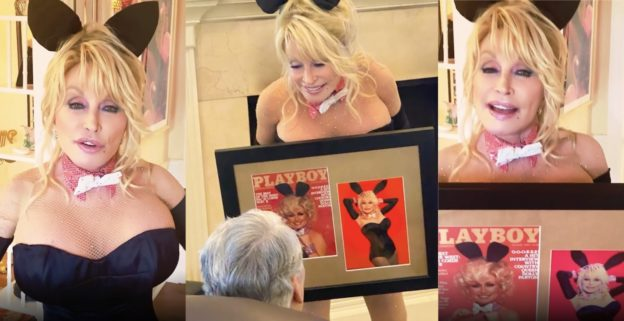 Dolly parton dressed up like an original Playboy bunny